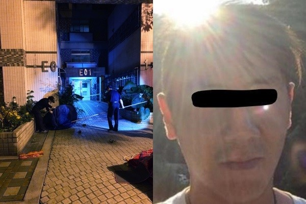Left photo of crime scene from Taoyuan police, right image of Lin from Facebook.