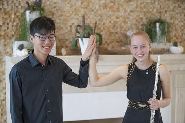 Pianist Chen Kuan-wei (left) and his partner, flutist Nele Schnell
