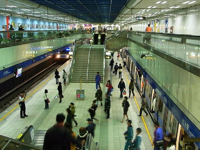 Commuters at Taipei MRT station