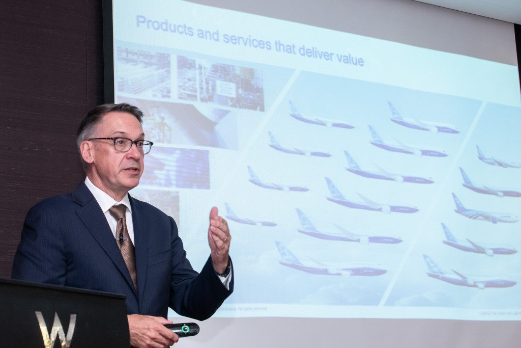 Randy Tinseth, Vice President of Commercial Marketing at Boeing speaking in Taipei on Oct. 23 (Photo courtesy of the Boeing Company)