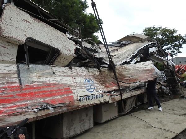 Carriage damaged in derailment.