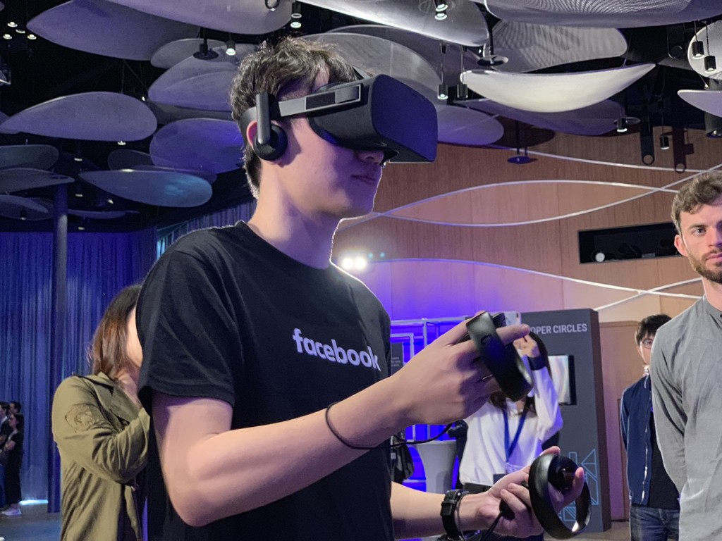 Checking out virtual reality at Facebook's id8 in Taipei.