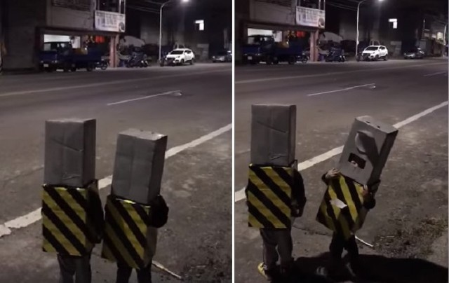 Two kids dressed as traffic cameras. (Images from Baoyuan Community)