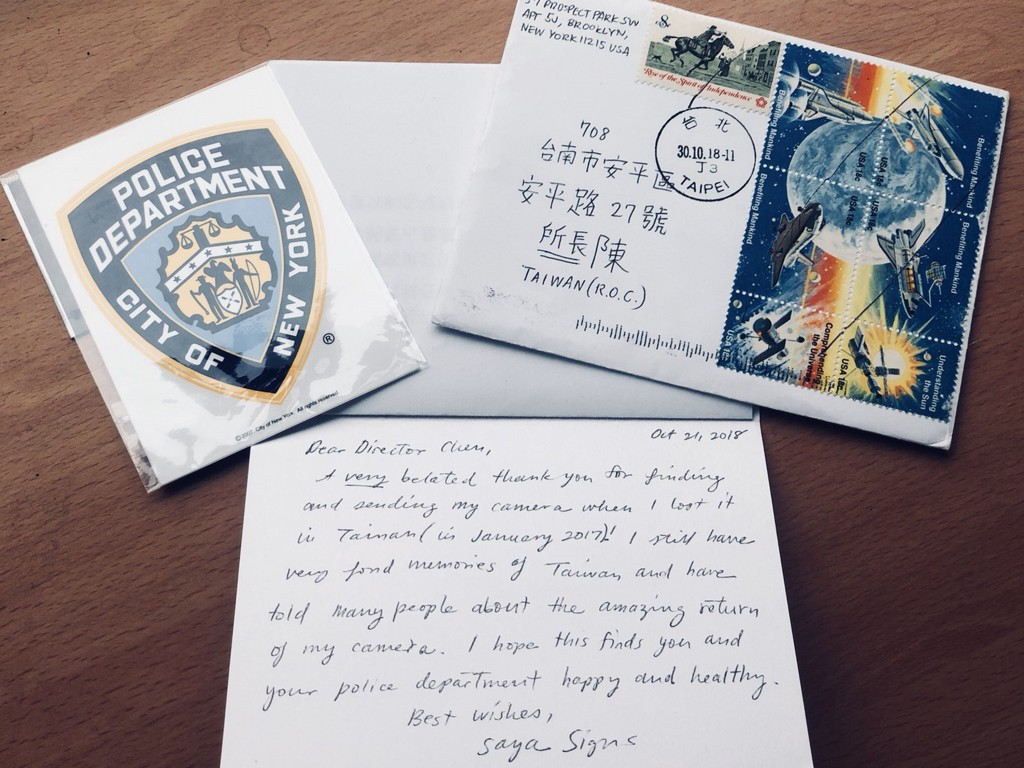 Tainan police received a letter from New York thanking them for finding a tourist's lost camera.