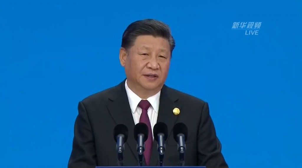 Xi Jinping at the opening ceremony of the import expo today