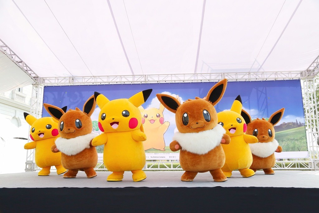 Pikachu and Eevee on stage. (Photo from Tourism Bureau of Tainan City)