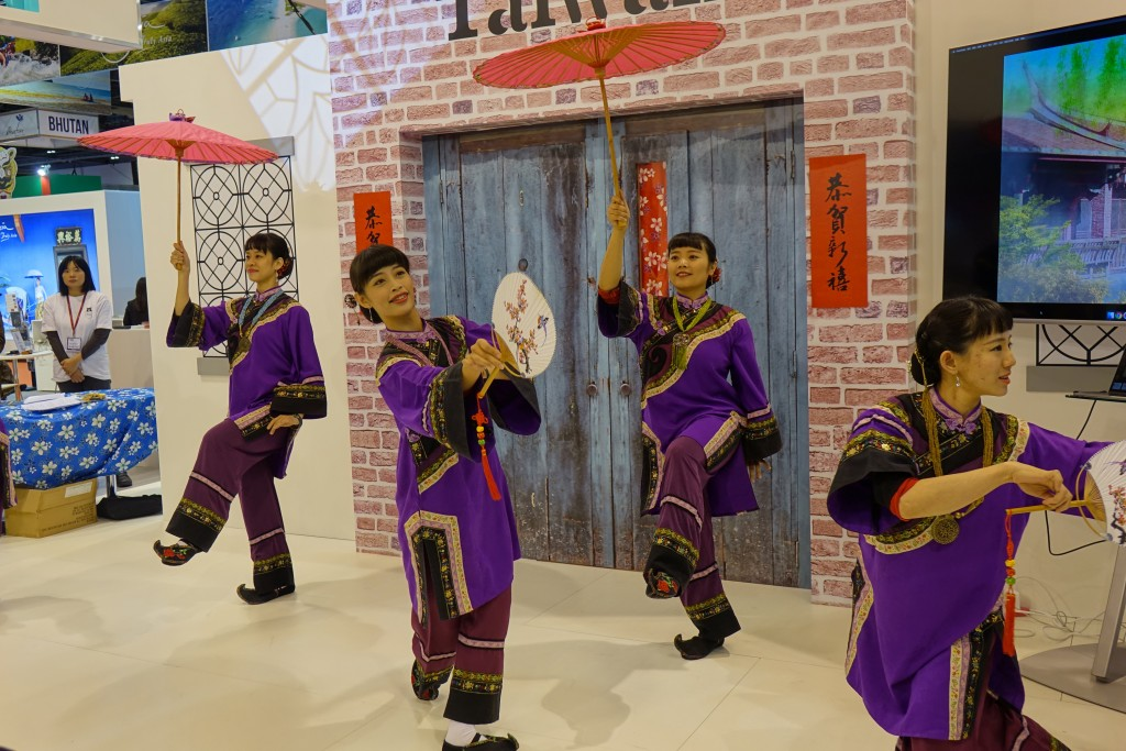 A Taiwanese traditional dance troupe performs at London's World Travel Market.