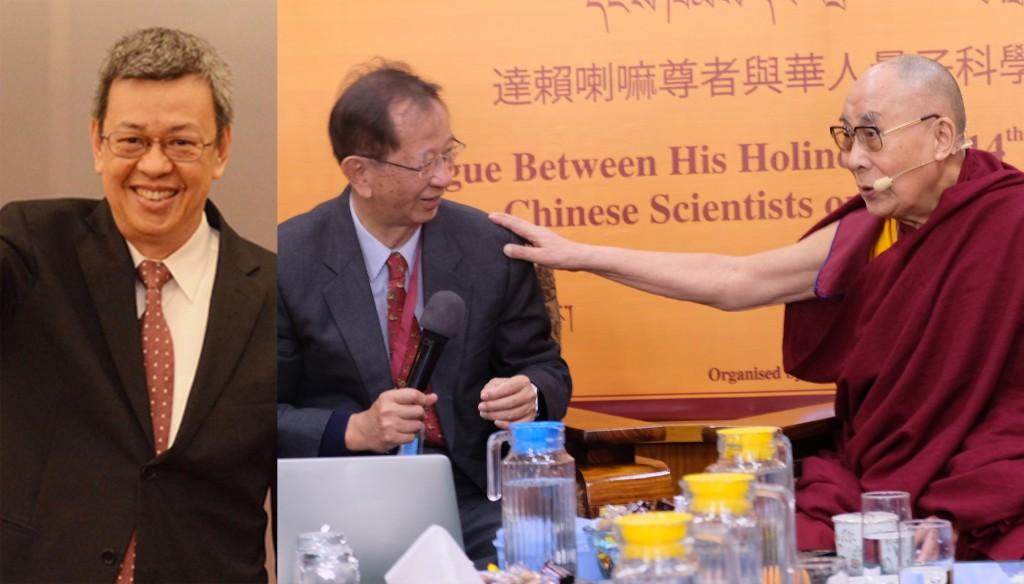 照片左起:台灣副總統陳建仁、李遠哲與第十四世達賴喇嘛。