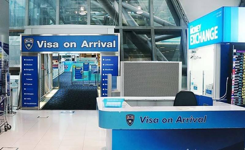 圖為泰國國際機場落地簽證通道(照片來源:資料照片/中央社提供)