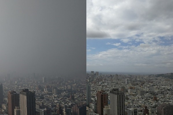 Pollution in Kaohsiung today (left), skyline in June (right). (爆廢公社 image)