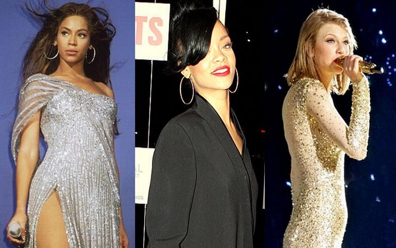 左起:碧昂絲、蕾哈娜、泰勒絲(維基百科)