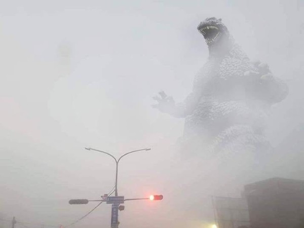 Godzilla attacks Taichung. (Image from 爆廢公社公)