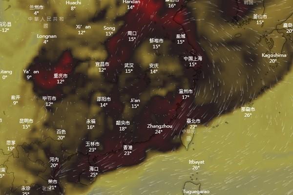 Windy.com map showing carbon monoxide concentrations.