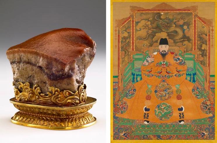 新南威爾斯州美術館官網公布,國立故宮博物院的「肉形石」(左...