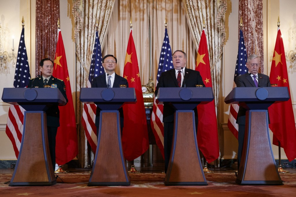 From left, Chinese Defense Minister General Wei Fenghe, Politburo Member Yang Jiechi, US Sec. of State Mike Pompeo, Sec. of Defense Jim Mattis
