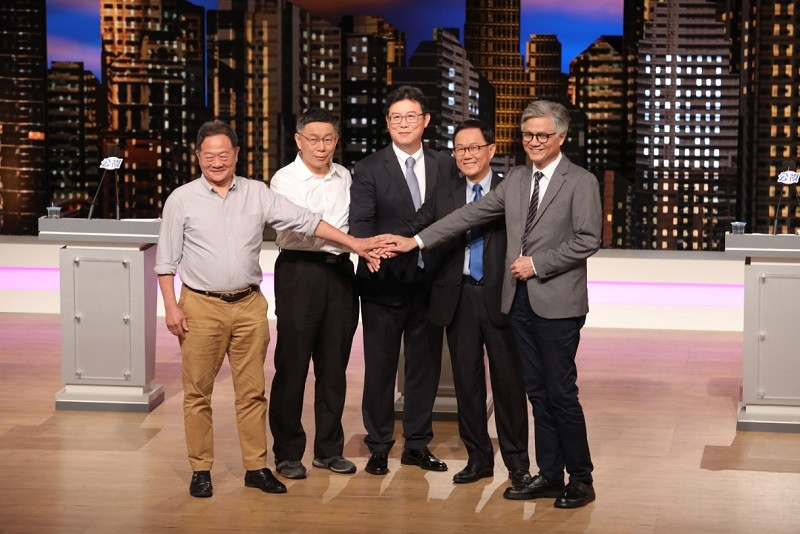 Taipei City mayoral candidates (from left to right) Lee, Ko, Yao, Ting and Wu.