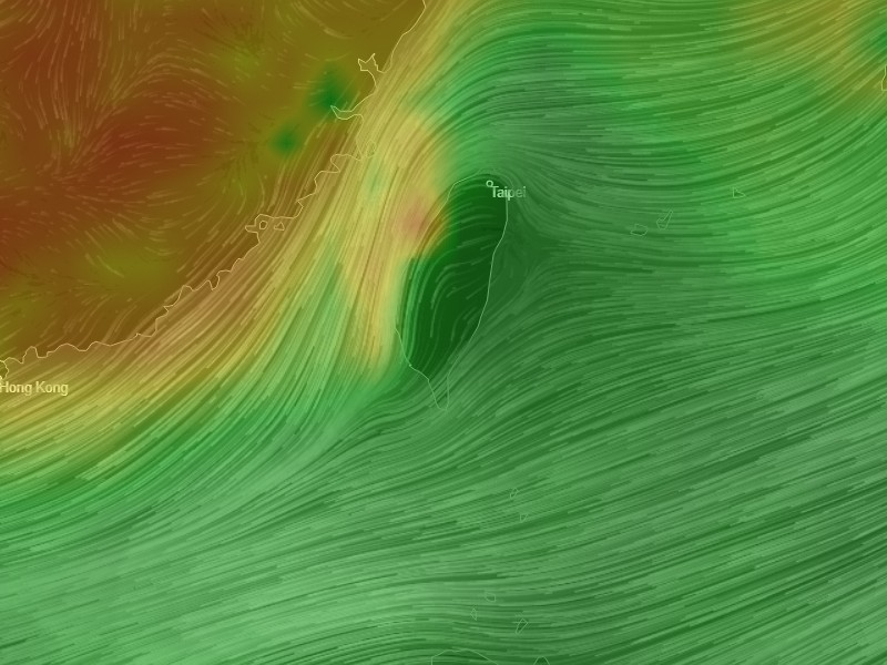 Airvisual.com map showing AQI levels in Taiwan
