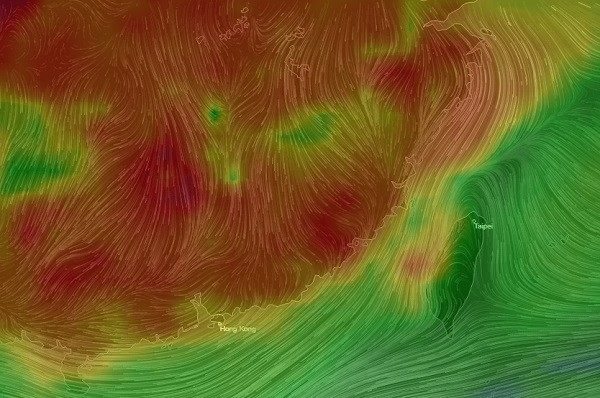 AirVisual Earth map of AQI levels in China and Taiwan.