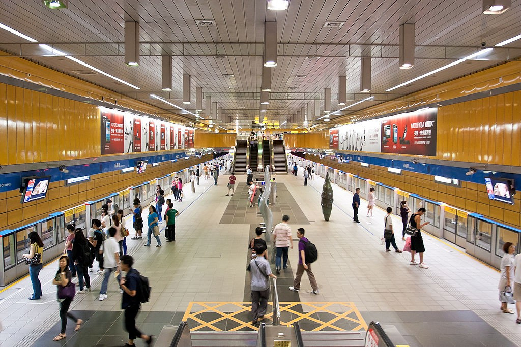 Commuters at MRT Taipei City Hall