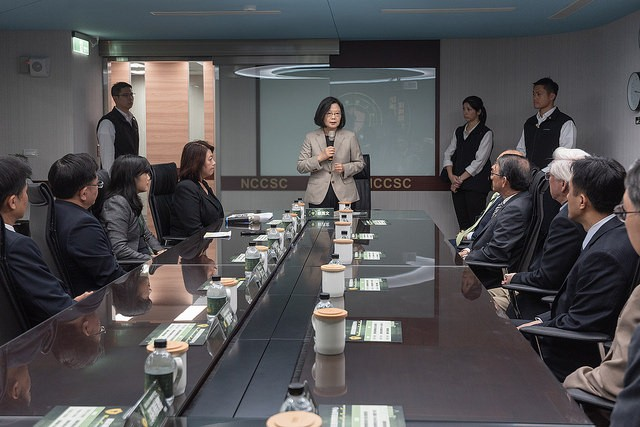 President Tsai Ing-wen attends the inauguralceremony of the National Communications and Cyber Security Center on Nov. 15 (Source: Presidential Office...