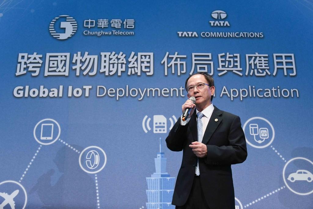 中華電信行動通信分公司陳明仕總經理致詞歡迎企業客戶參加跨國物聯網研討會 (中華電信提供)