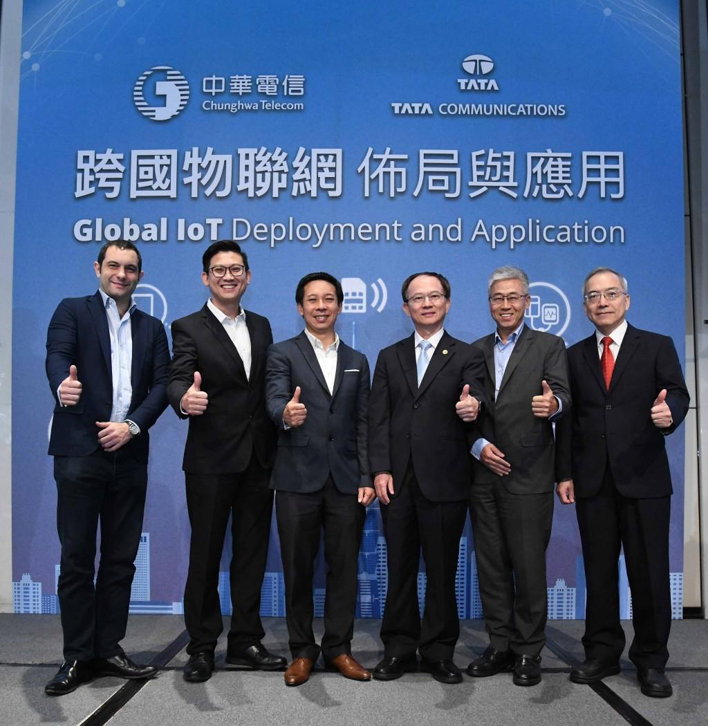 中華電信攜手tata通訊協助客戶開拓跨國物聯網商機。(由左至右為tata通訊行動業務發展領導ludovic lassauce、tata通訊