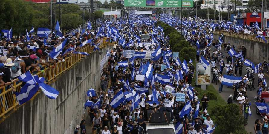 Protesters flood the streets of Managua, Nicaragua, July 2018
