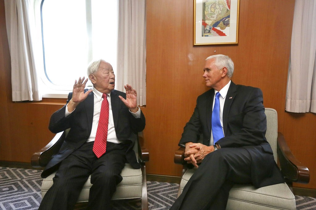 Morris Chang, left, with Mike Pence. (Image from Taiwan's MOFA)