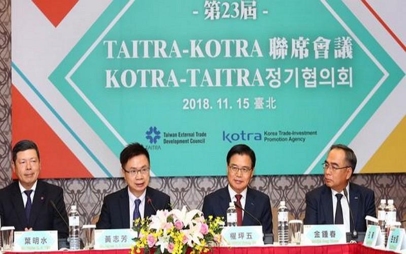 外貿協會與大韓貿易投資振興公社15日在台北國際會議中心召開第23屆聯席會議(圖/外貿協會)