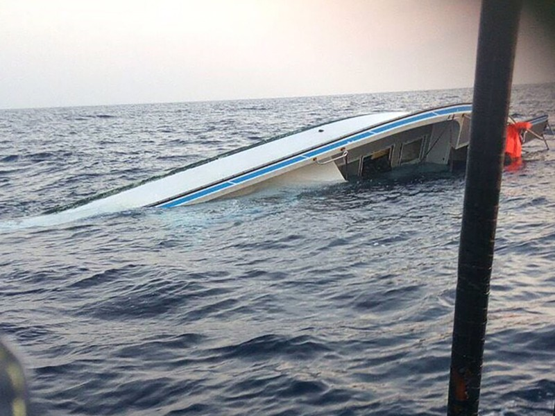 Capsized fishing boat off Pingtung County.
