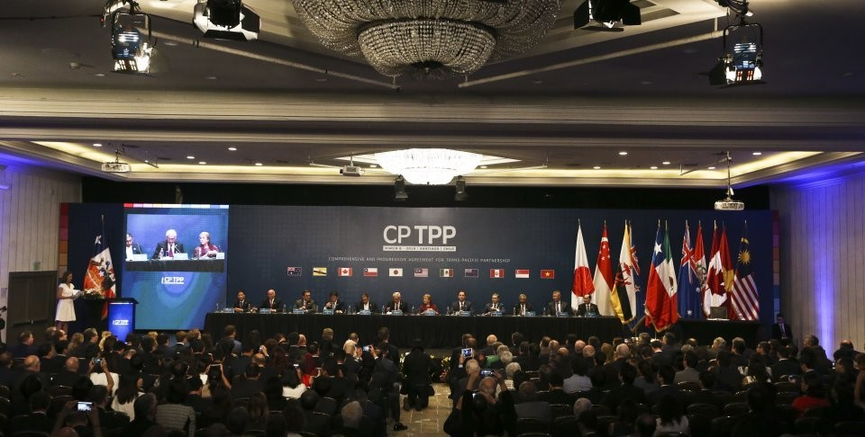 The signing ceremony for the Comprehensive and Progressive Trans-Pacific Partnership last March.