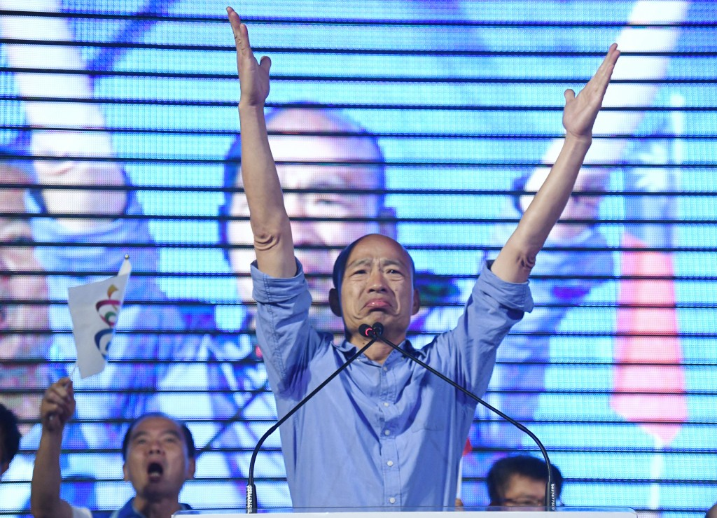 Han Kuo-yu at his victory event.