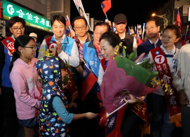 Hsu Chen-wei celebrating her victory, Nov. 24