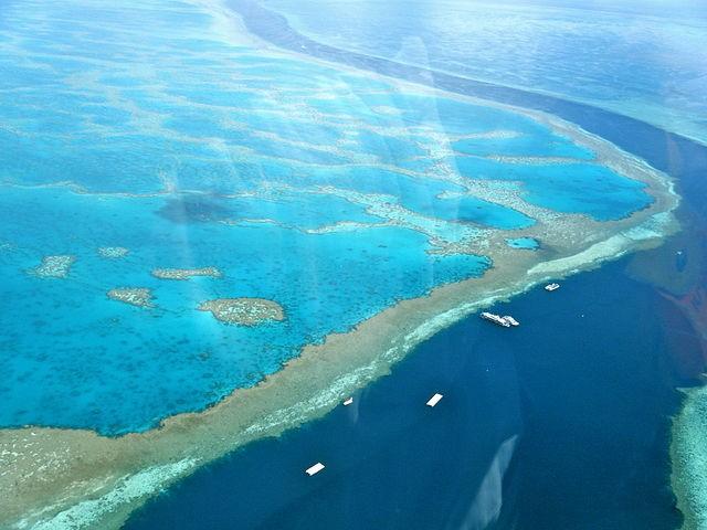 空中俯瞰澳洲降靈群島的大堡礁。(Sarah Ackerman/CC BY 2.0)