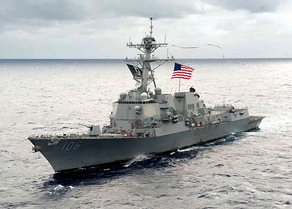 The image shows the guided-missile destroyer USS Stockdale (DDG 106)