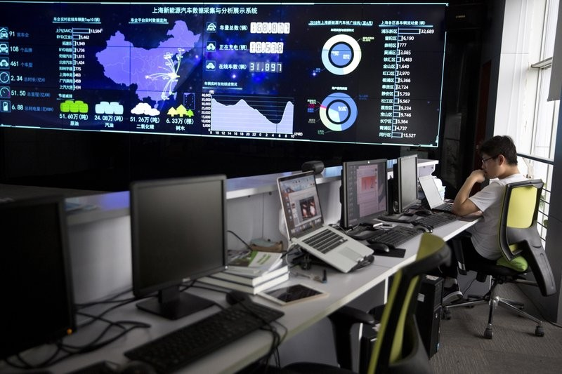 A screen displays live data from vehicles at the Shanghai Electric Vehicle Public Data Collecting, Monitoring and Research Center.