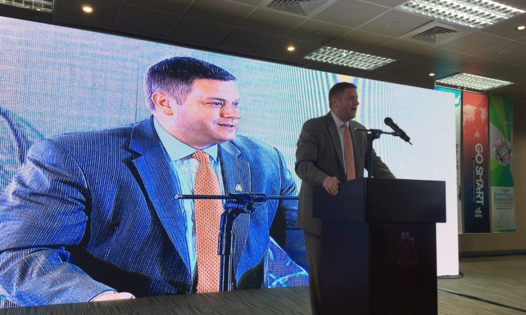 U.S. Deputy Assistant Secretary of Commerce for Manufacturing Ian Steff at the Smart City Summit & Expo in Taipei in March (Source: AIT)