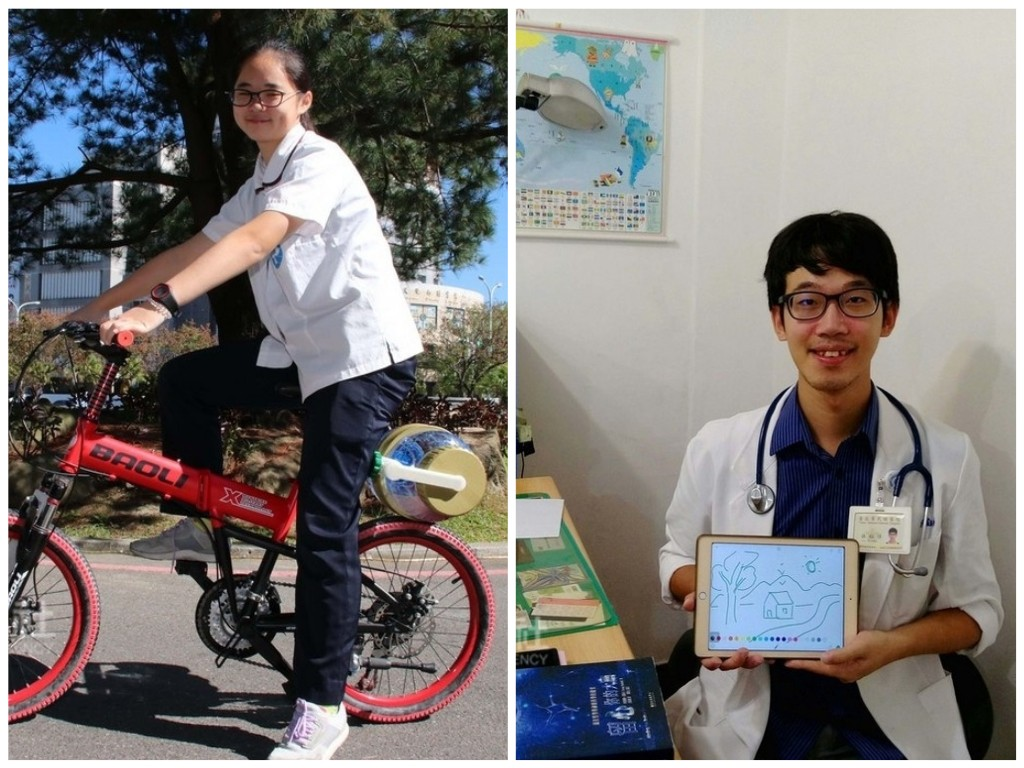 Chien Shi-ting (簡詩婷) with her bicycle installed washing machine (right) and Lin Yu-hsiu (林鈺修) with his Ipad-run drawing module