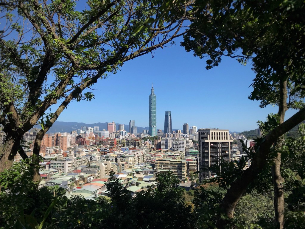 View of Taipei 101 through trees. (Photo by Tyler Bassett)