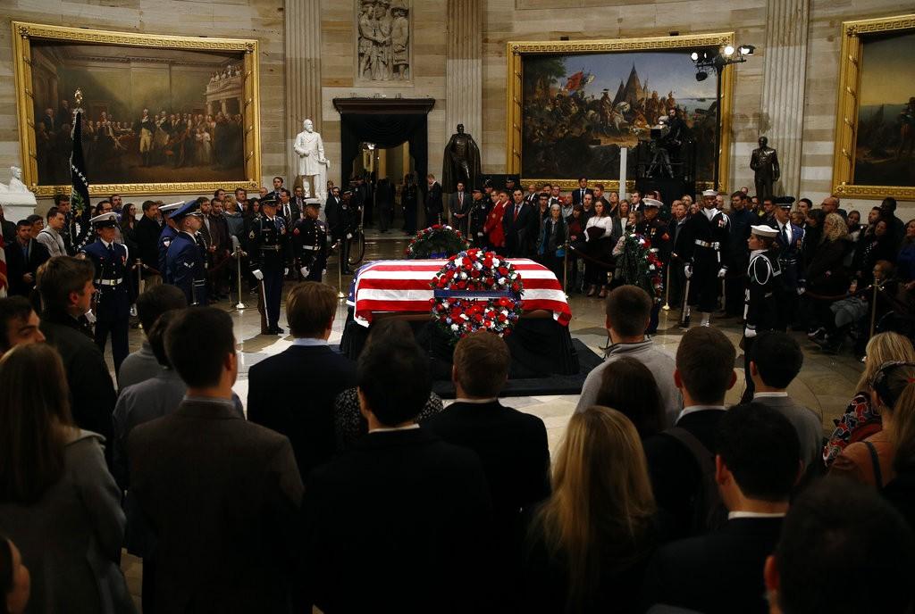 George H.W. Bush lies in state in the Capitol Rotunda, Washington
