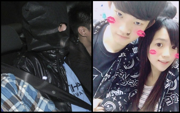 Chan Tung-kai in HK police custody (left), Chan and Poon (right) (HK police photo/ Facebook photo)