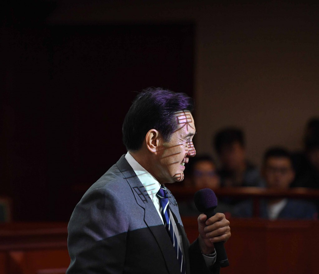 Ex-President Ma Ying-jeou speaking at Soochow University in Taipei Wednesday.