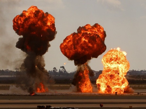 Stock images of bombs exploding.
