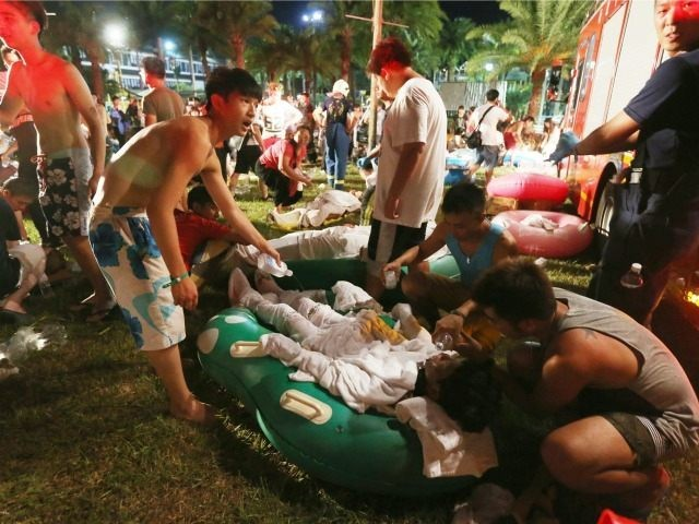 The scene after the June 27, 2015 colored dust explosion at the Formosa Fun Coast water park in New Taipei City.
