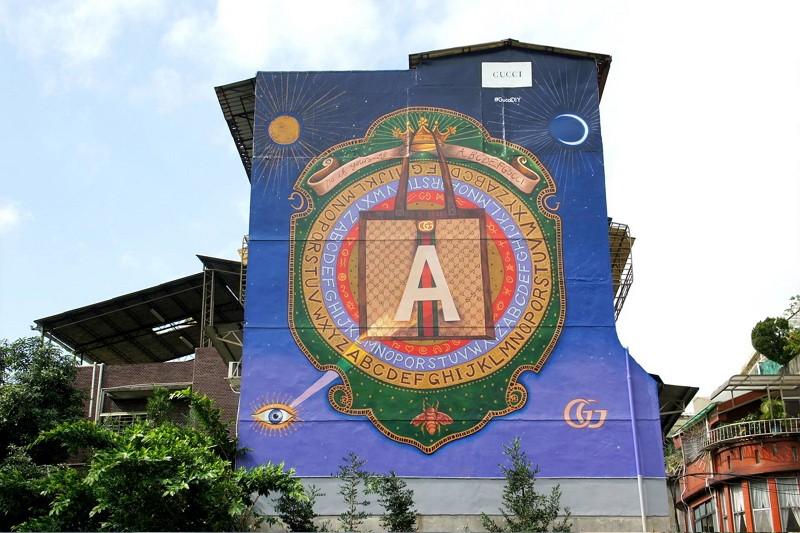 顏振發繪製的永康街古馳藝術牆(圖/古馳臉書)