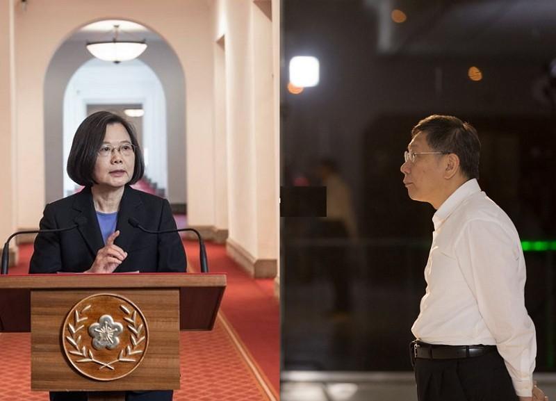 總統蔡英文與台北市長柯文哲(圖/二人臉書)