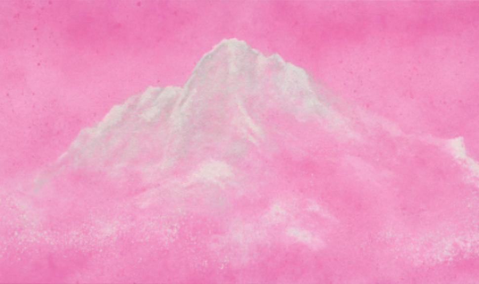 「金屬人」之一無棠的作品「磊銀」,以銀粉入畫,山岳起於無形,寓意深遠(圖/主辦單位)