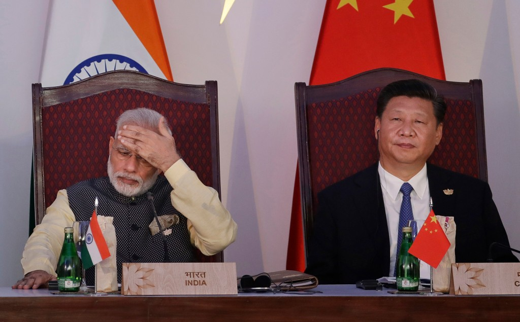 Indian Prime Minister Narendra Modi (left) meeting Chinese President Xi Jinping in 2016.