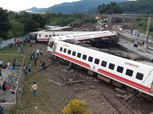The scene after the Puyuma derailment in Yilan County.