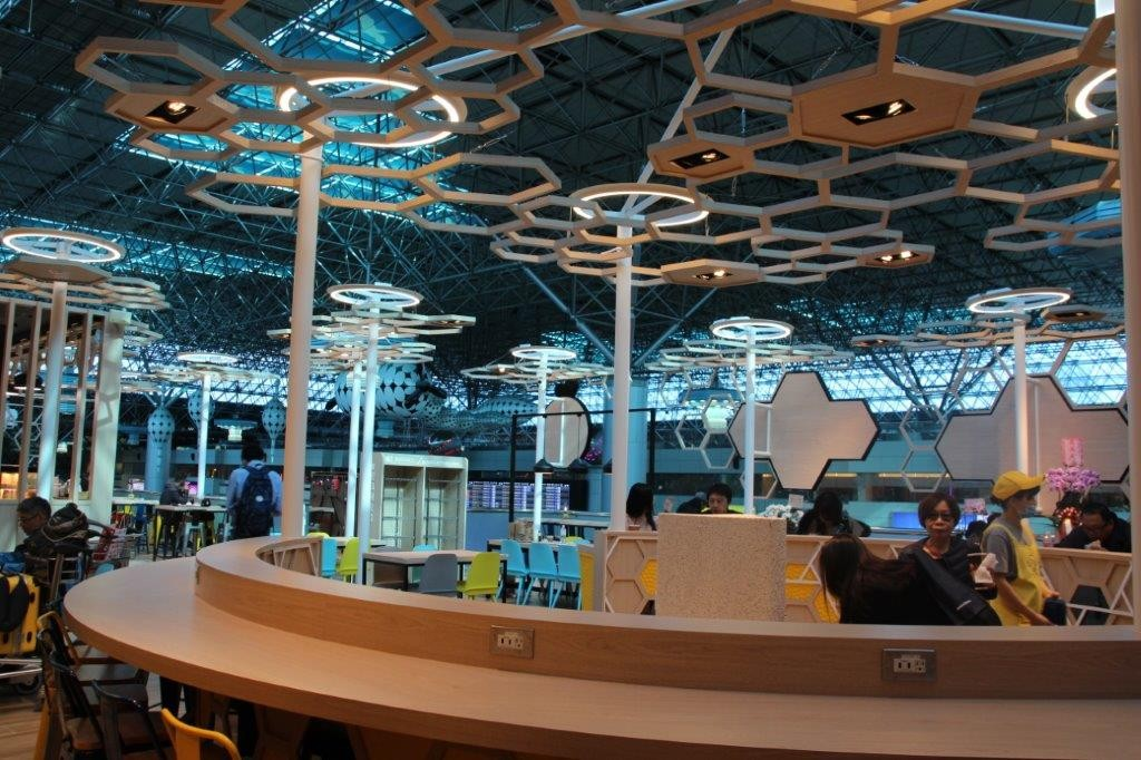 The new Bees' Journey food court at Taiwan Taoyuan International Airport.